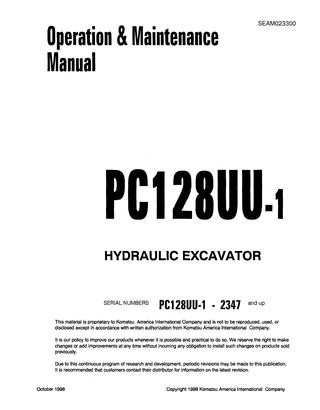 download Komatsu PC128UU 2 Hydraulic Excavator able workshop manual