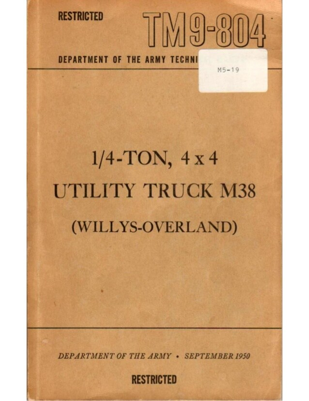 download M38 1 4 Ton 4x4 Utility Truck able workshop manual