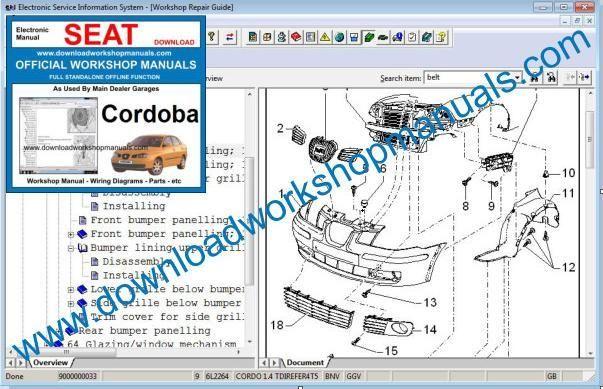 download SEAT CORDOBA COUPE 1.0L 1043 CC able workshop manual