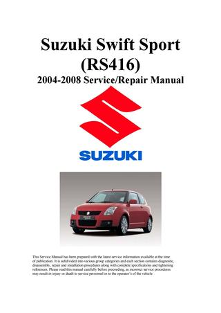 download SUZUKI SWIFT Sports RS416  able workshop manual